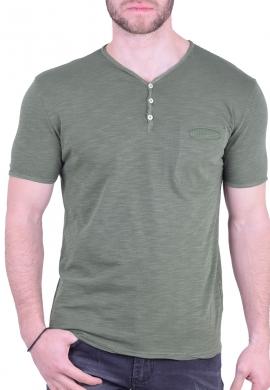 T-Shirt με V και τσεπάκι χακί