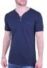 T-Shirt με V και τσεπάκι μπλε