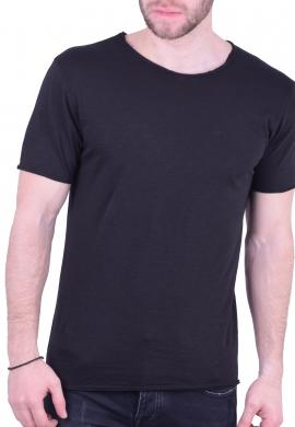 T-Shirt Με Λαιμόκοψη Μαύρη