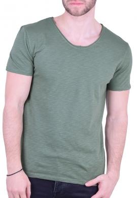 T-Shirt  με V  χακί