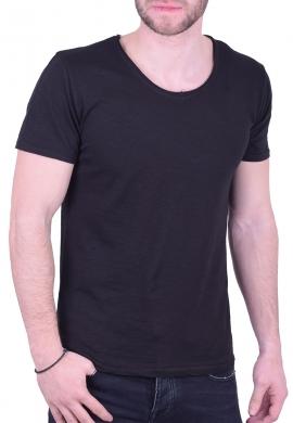 T-Shirt  με V μαύρο