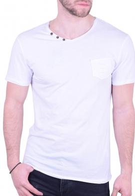 T-Shirt με V και κουμπάκια λευκό