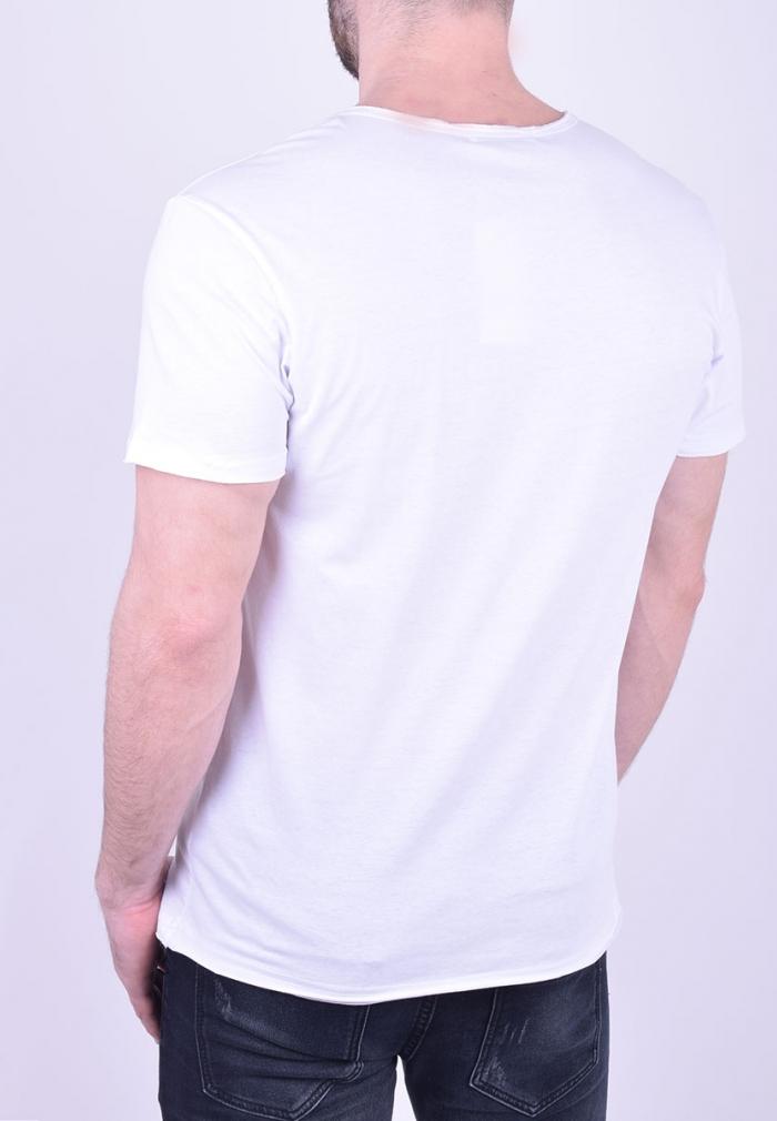 9fd43b3ce60a T-Shirt με V και κουμπάκια λευκό - Moda4u