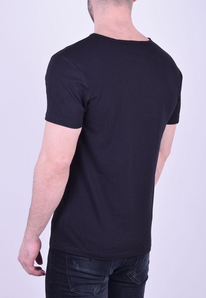 fc109b0534c1 T-Shirt με V και κουμπάκια μαύρο - Moda4u