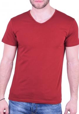 T-Shirt με V μπορντό
