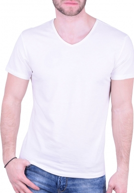 T-Shirt με V σπασμένο λευκό