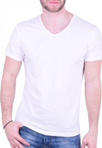 5a7658cc2220 T-Shirt με V σπασμένο λευκό - Moda4u