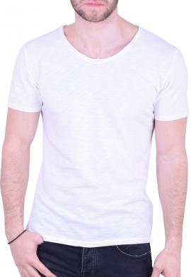 T-Shirt  με V λευκό