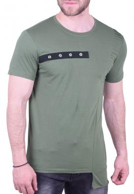T-Shirt ασύμμετρο χακί