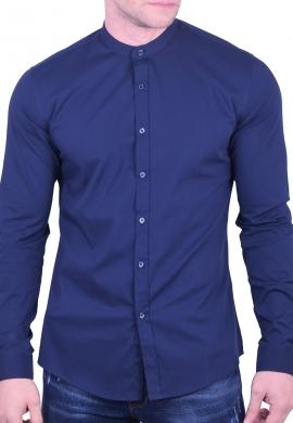 Ανδρικό Πουκάμισο mao collar σκούρο μπλε