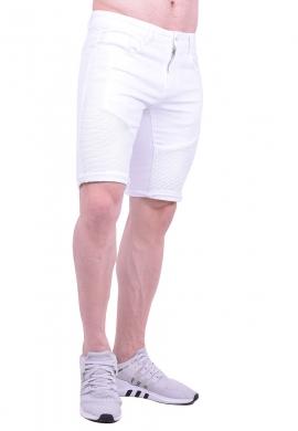Βερμούδα τζιν biker λευκή