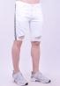 Βερμούδα τζιν λευκή με σκισίματα και ρίγες