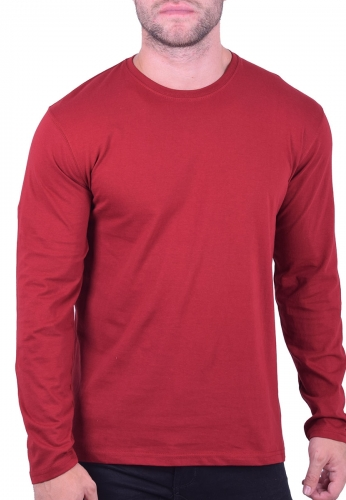 a21849778de5 Μπλούζα μακρυμάνικη μονόχρωμη κόκκινη - Moda4u