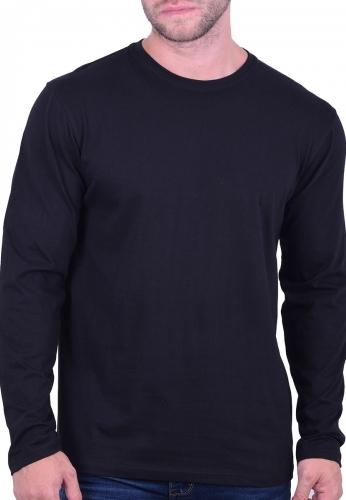 45c0820ba14a Μπλούζα μακρυμάνικη μονόχρωμη μαύρη - Moda4u