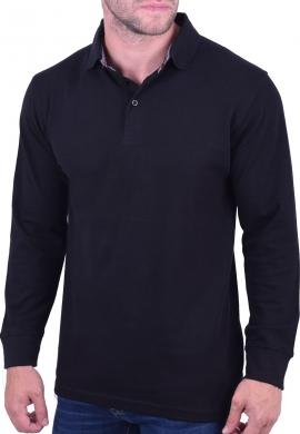 Μπλούζα πόλο μακρυμάνικη μαύρη
