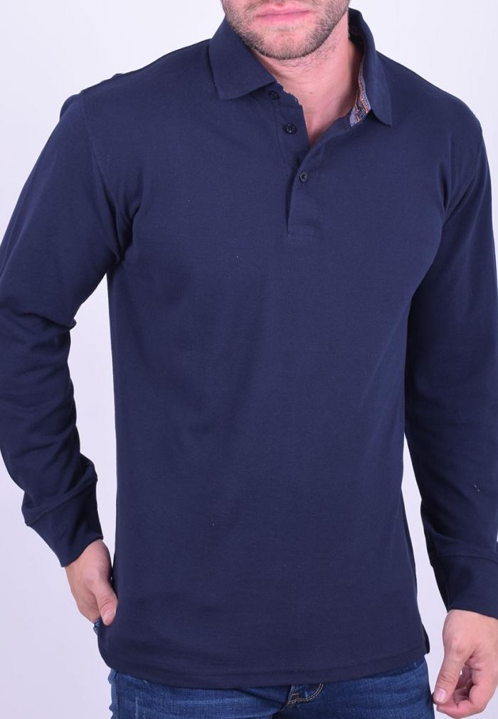 c220df7190f5 Μπλούζα πόλο μακρυμάνικη μπλε · Μπλούζα πόλο μακρυμάνικη μπλε ...